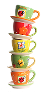 stack of colorful teacups